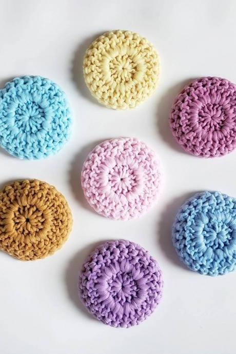 Solstice Dish Scrubby - Tulle Scrubby - Crochet Dish Scrubbies - Crochet Tulle Scrubby - Colorful Scrubby - Solstice Scrubby (Choose 2)
